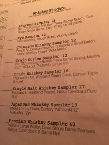 Here's the menu of whiskey flights at Bin 707 Foodbar.  There are offerings at multiple price points.