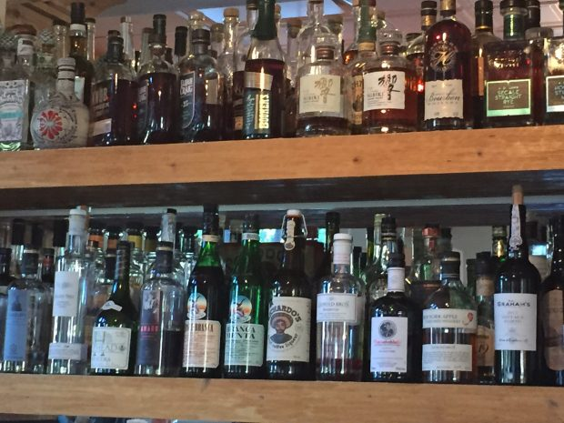 The bar at Bin 707 is well-stocked with whiskey.  The second row of bottles is not the same as the front row.  There are many offerings!