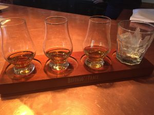 A whiskey flight at Bin 707 Food Bar.