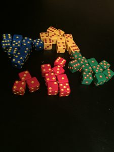 In Tenzi, each player gets ten dice (and players each have their own color of dice.)