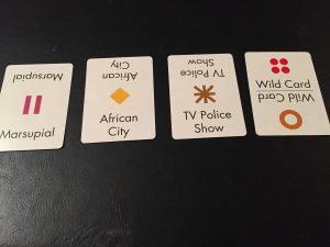 Here are some examples of Anomia card faces.  Each card has a symbol and some words denoting a category of things.