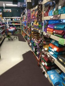 This photo shows just a small portion of the huge selection of dog foods at J&M Aquatics and Pet Center.